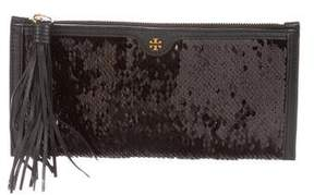 Tory Burch Leather-Trimmed Sequin Wristlet w/ Tags