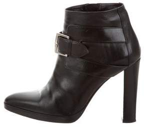 Hermes Leather Pointed-Toe Ankle Boots