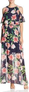 Eliza J Floral Cold-Shoulder Gown
