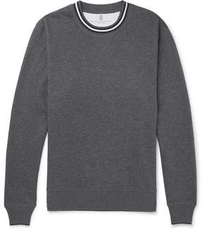 Brunello Cucinelli Stripe-Trimmed Loopback Cotton-Jersey Sweatshirt