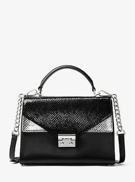 Michael Kors Sloan Embossed Leather Satchel - BLACK - STYLE