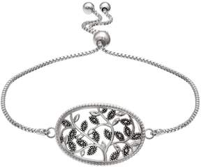 Brilliance+ Brilliance Silver Plated Marcasite Vine Bolo Bracelet