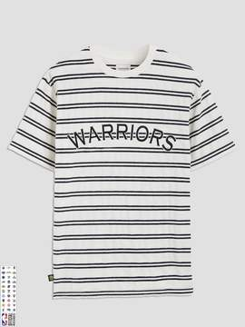 Frank and Oak Golden State Warriors Striped Velvet T-Shirt in Navy