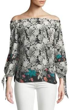Tolani Nyala Off-the-Shoulder Silk Top, Plus Size