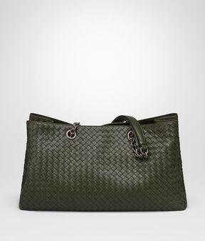 Bottega Veneta Large Tote Bag In Moss Intrecciato Nappa Leather