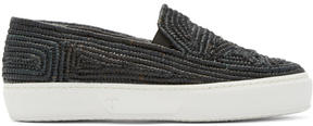 Robert Clergerie Black Raffia Tribal Slip-On Sneakers