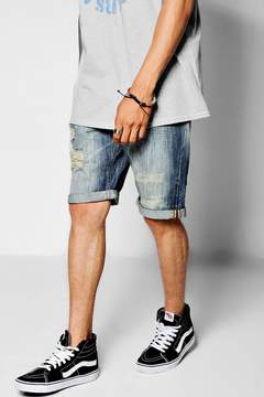 boohoo Loose Fit Skater Denim Shorts with Distressing