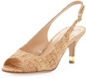 Neiman Marcus Ursalla Metallic Cork Slingback Sandal