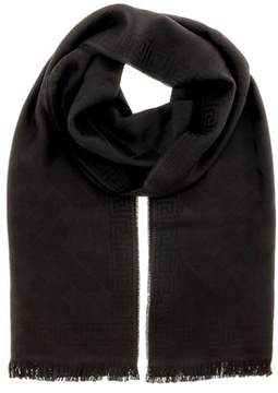 Versace It00633 Nero Black 100% Wool Mens Scarf.