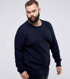 Brave Soul PLUS Crew Neck Waffle Knit Sweater
