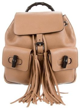 Gucci Leather Bamboo Backpack - BROWN - STYLE
