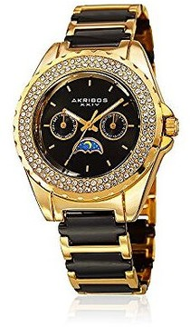 Akribos XXIV Black Dial Gold-Tone Black Ceramic Ladies Watch