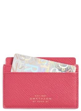 Smythson 'Panama' Leather Card Case - Pink