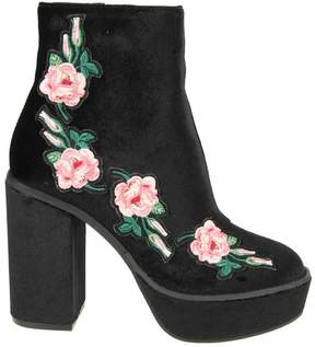 Windsor Smith Windsorsmith Paulette Boots In Black Velvet With Flowers Applied