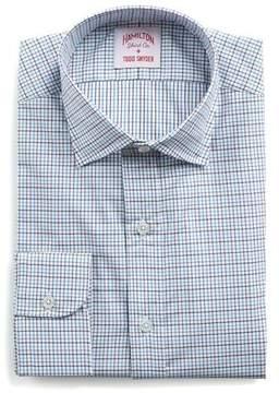 Hamilton Aqua, Brown and White Tattersall Twill Shirt