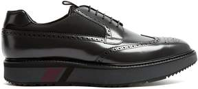 Prada Stacked-sole mesh-detail leather brogues