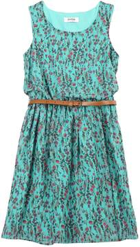 Speechless Girls 7-16 Belted Sleeveless Floral Chiffon Dress