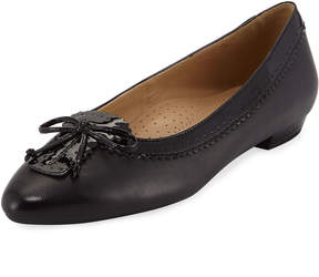 Neiman Marcus Gilia Patent-Trim Bow Flat, Black