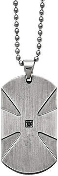 Black Diamond FINE JEWELRY Mens Color Enhanced Accent Stainless Steel Dog Tag Pendant