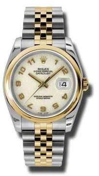 Rolex Datejust 36 Ivory Dial Stainless Steel and 18K Yellow Gold Jubilee Bracelet Automatic Men's Watch