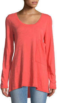 Allen Allen Scoop-Neck Long-Sleeve High-Low Tee