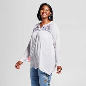 Notations Women's Plus Size Lace Up Blouse White