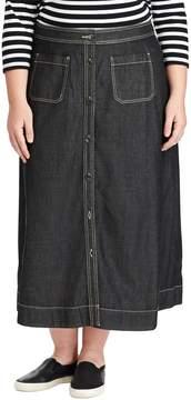 Chaps Plus Size A-Line Jean Maxi Skirt