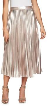 1 STATE Women's 1.state Metallic Pleated Midi Skirt