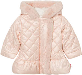 Billieblush Pale Pink Quilted Faux Fur Lined Hooded Coat