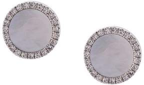 Ef Collection mother of pearl diamond disc stud earrings
