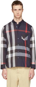 Burberry Navy Check Thornaby Shirt