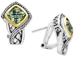 Effy Balissima Green Amethyst Stud Earrings (3 ct. t.w.) in Sterling Silver and 18k Gold
