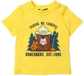 DSQUARED2 Bear Printed Cotton Jersey T-Shirt