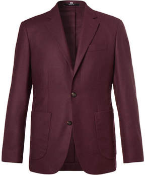 Hardy Amies Plum Slim-Fit Unstructured Cashmere Blazer