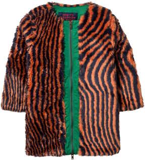 Bobo Choses Orange and Black Faux Fur Hypnotized Coat