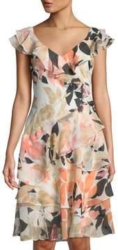 Donna Karan Stamped Leaves Sunset V-Neck Ruffle-Trimmed Midi Dress