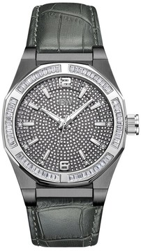 JBW Apollo Crystal Pave Grey Leather Men's Watch