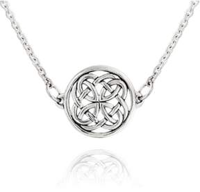Celtic Bling Jewelry Round Knot Pendant Sterling Silver Station Necklace 16 Inches.