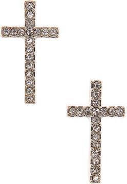 Carole Silvertone Crystal Cross Stud Earrings