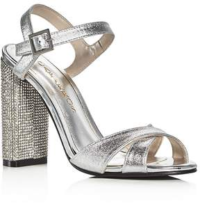 Caparros Hayley Metallic Embellished Block Heel Sandals