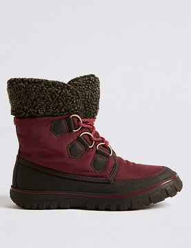 Marks and Spencer Waterproof Faux Fur Lace-up Ankle Boots