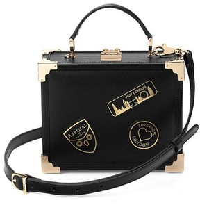 Aspinal of London Mini Trunk Clutch In Smooth Black With Patches