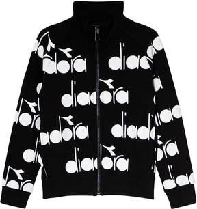 Diadora Black Branded Zip Through Bomber Sweater