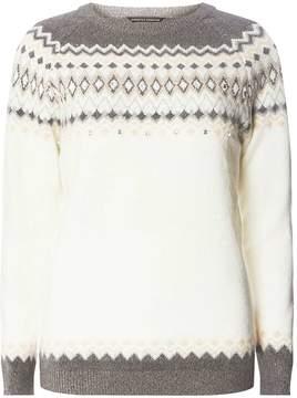 Dorothy Perkins Ivory Embellished Fair Isle Jumper