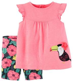 Carter's Infant Girls Pink & Blue Floral Toucan Bird Baby Outfit Shirt & Shorts Set 3m