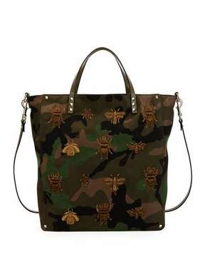 Valentino Men's Insect-Embroidered Camo Tote Bag, Green