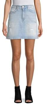 Calvin Klein Jeans Distressed Denim Mini-Skirt