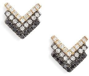 Ef Collection Women's Chevron Diamond Stud Earrings