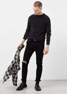 Mango Outlet Cable-knit cotton sweater