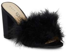 Katy Perry Bon-Bon Feather-Trimmed Sandals